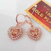 Серьги сердце  розовое золото 18К позолота цирконий шампань