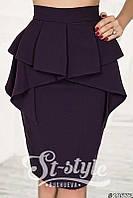 Классическая юбка с баской и завышенной талией (3 цвета) 4041, фото 1