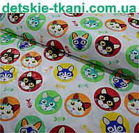 Ткань хлопковая с котами в салатовых кружочках № 446