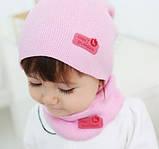Детская шапка с шарфом-хомутом разные цвета, фото 4