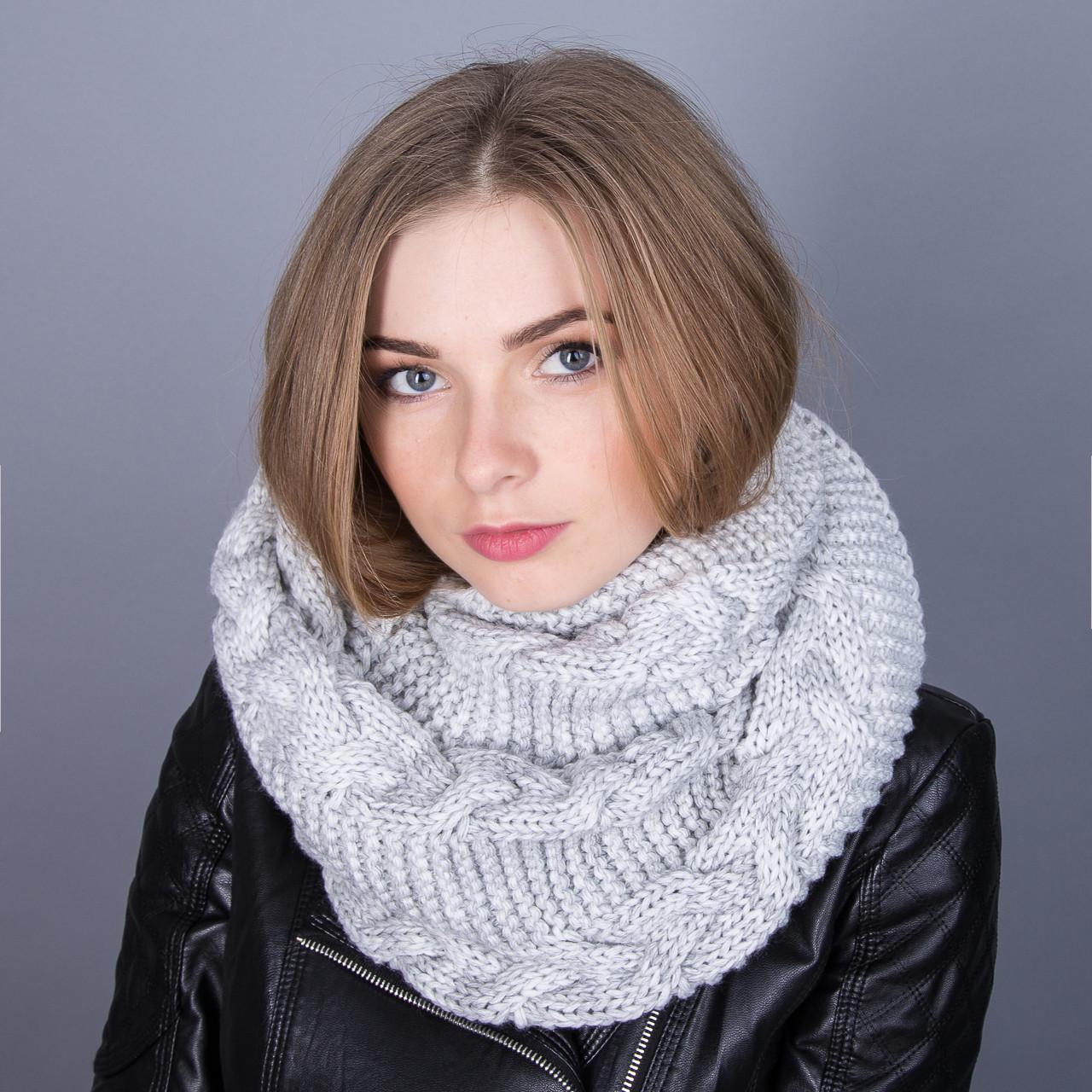 Стильныйснуд (хомут)для девушек крупной вязки из ангорки - Артикул ТХ-1C