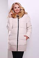 Женская светлая куртка прямого силуэта с капюшоном на зиму , фото 1