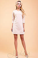 Трикотажное бежевое платье-туника Шалли 42-48 размеры Jadone
