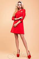 Трикотажное красное платье-туника Шалли  42-48 размеры Jadone