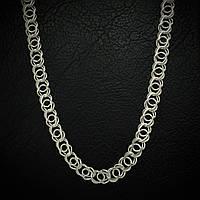 Цепочка серебряная, 600мм, плетение Арабский бисмарк, 25,5 грамм, светлое серебро