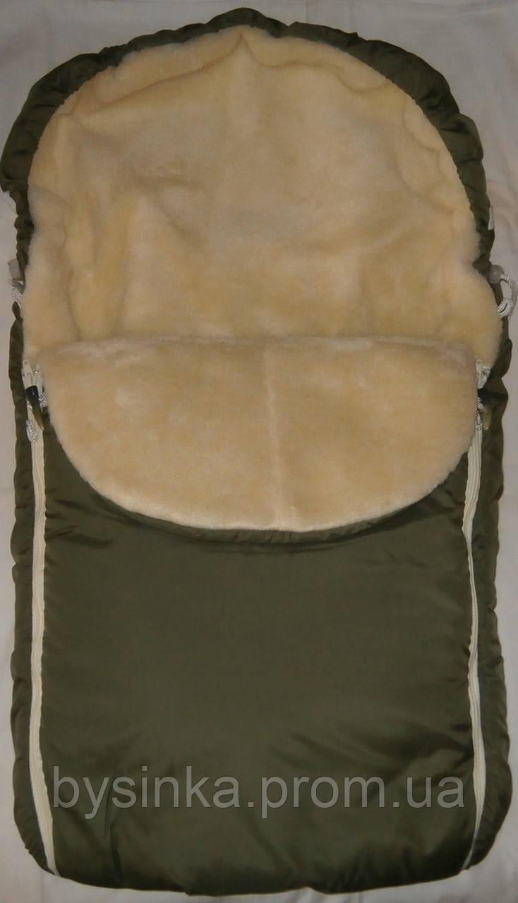 Конверт для новорожденного зимний на овчине для малышей в коляску, санки