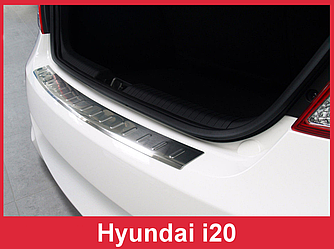 Накладка на задний бампер из нержавейки Hyundai i20