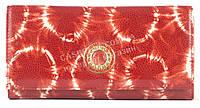 Стильный оригинальный прочный кожаный качественный женский кошелек MORO art. MR-85-28E красный