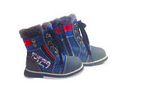Ботинки зимние детские ортопедические ОrtoBaby W9012 синие, натуральный мех (22-31 размеры), фото 1