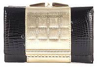 Небольшой оригинальный прочный кожаный качественный женский кошелек SALFEITE art. 2103T-13-67A черный/золото