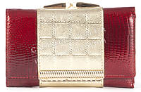 Небольшой оригинальный прочный кожаный качественный женский кошелек SALFEITE art. 2103T-13-44A красный/золото