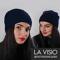 "Женская двухсторонняя шапка, ""La Visio"" (Т. синий)"