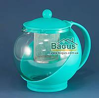Чайник заварочный 1,25 л с ситом БИРЮЗОВЫЙ Stenson (MS-0117-3)