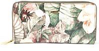 Лаковый оригинальный прочный кожаный качественный женский кошелек барсетка H.VERDE art. 2480-E17 цветы