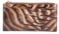 Лаковый стильный прочный кожаный качественный женский кошелек H.VERDE art. 2489-D44 коричневый