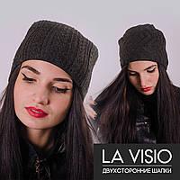 Женская двухсторонняя шапка, Ла Визио (Т. серый)