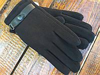 Мужские зимние стрейчевые перчатки с мехом кролика пряжка