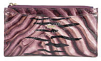 Лаковый стильный прочный кожаный качественный женский кошелек H.VERDE art. 2489-D46 фиолетовый