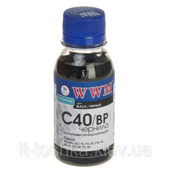 Чернила wwm для canon pg-40bk/pg-50bk/pgi-5bk 100г black Пигментные (c40/bp-2)