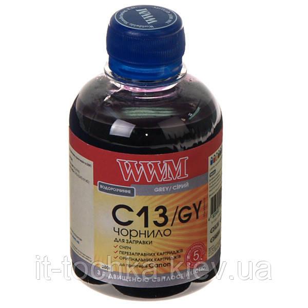 Чернила wwm для canon cli-426g/cli-521g 200г grey Водорастворимые (c13/gy) с повышенной светостойкостью