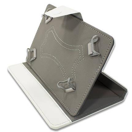 Чехол книжка универсальный 7 дюймов (Белый) для планшетов Samsung Lenovo Xiaomi крепление скобы, фото 2