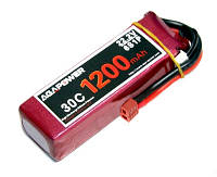 Аккумулятор aga power li-po 1200mah для авиамоделей 22.2v 6s 30c softcase 26x34x105мм t-plug