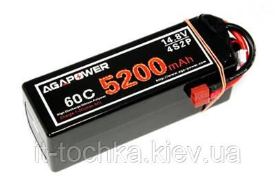 Аккумулятор aga power li-po 5200mah 14.8v 4s1p 60c hardcase 48x47x138мм t-plug