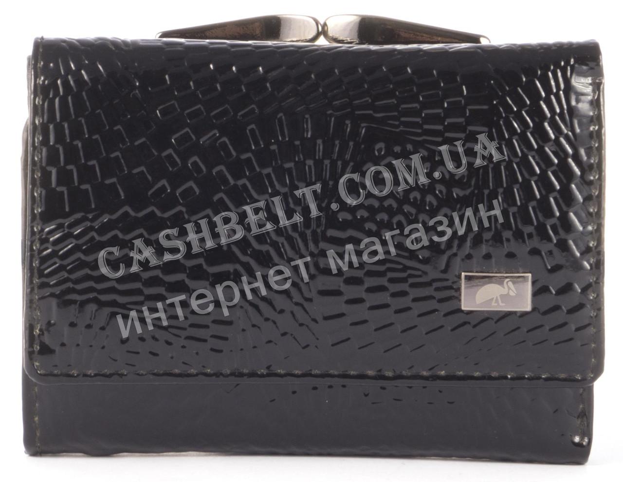 Компактный стильный прочный кожаный качественный женский кошелек LE PELICAN art. LE2190-A35 черный лак