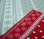 """Новогодняя ткань """"Снежинки с сердечками"""" тёмно-красного цвета № 455, фото 2"""
