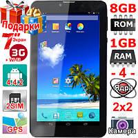 Телефон Планшет Samsung Tab 7 GPS 2 сим 4 ядра 3G ОЗУ 1 Гб Rom 8 Гб Андроид 4 4 самсунг OTG 3000 mAh Подарки