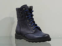 Зимние женские кожаные ботинки на шнуровке темно-синие