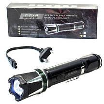 Фонарь ручной светодиодный X MEN 6610 (Черный) c электрошокером для самообороны аккумуляторный влагостойкий, фото 3