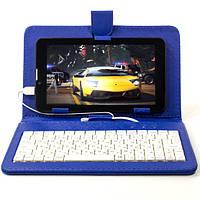 Чехол подставка для планшета 7 дюймов (Синий) с русской клавиатурой micro Usb