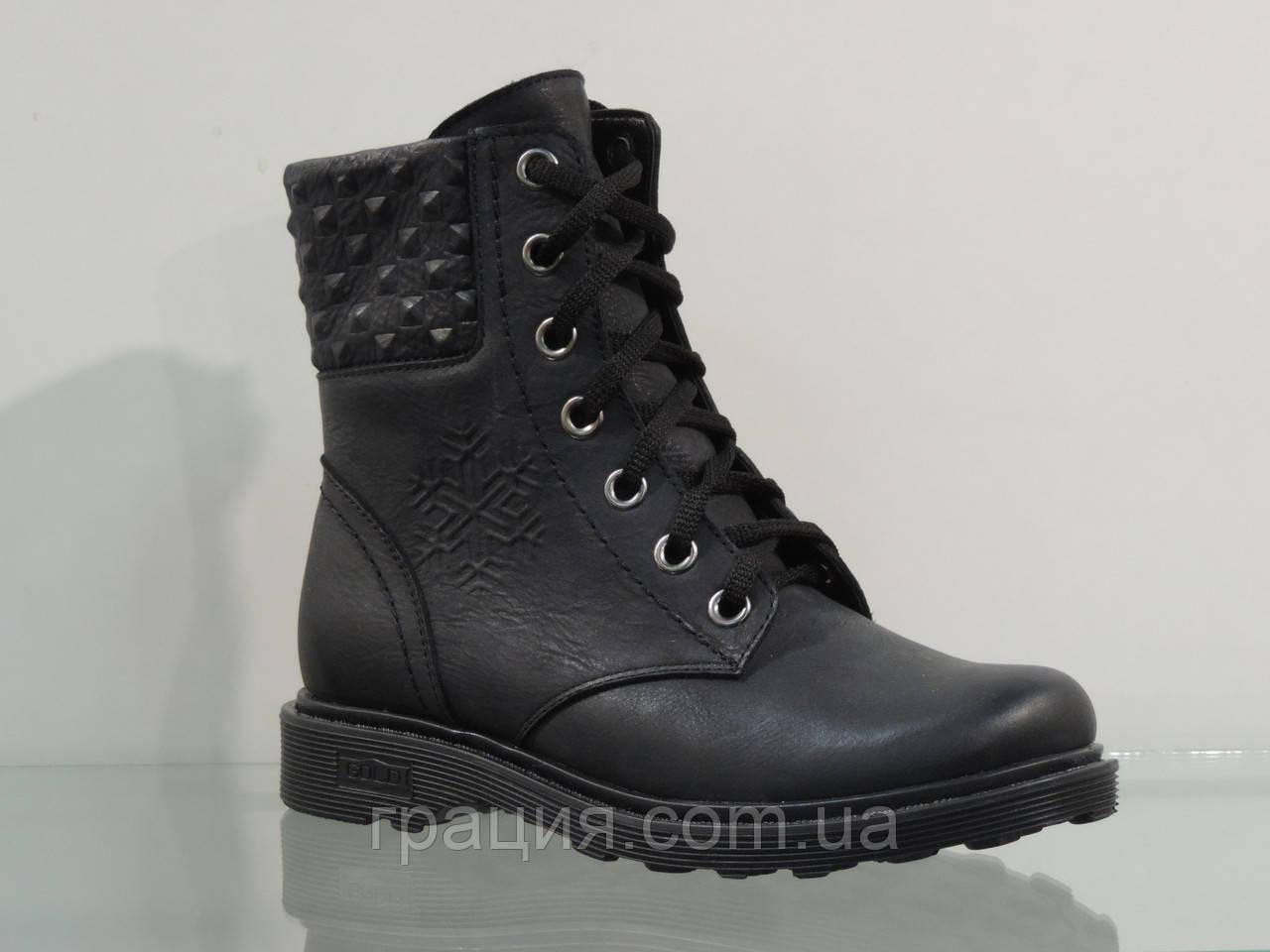 Зимние женские кожаные ботинки на шнуровке черные