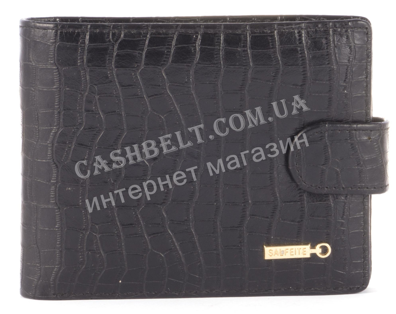 Міцний зручний гаманець з візитницею з натуральної якісної шкіри SALFEITE art. 2257SL-D71 чорний