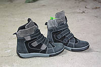 Демисезонные замшевые ботинки на липучках серого цвета для мальчика Tobi 33р.