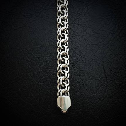 Cеребряный мужской браслет, 220мм, 24,6 грамма, плетение Бисмарк, фото 2