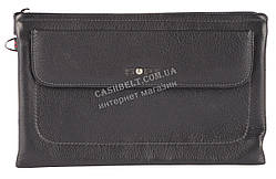 Вместительная прочная мужская сумка барсетка органайзер с качественной кожи SOPJ art. SX-0078 черный