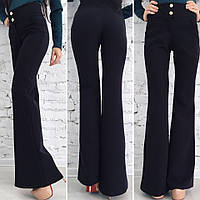 Черные стрейчевые брюки расклешенные. Арт-8648/70