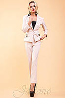 Женский офисный бежевый костюм с брюками Терри-2 42-48 размеры Jadone