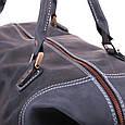 Кожаная сумка дорожная большая С-4 синяя, фото 4