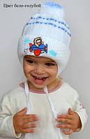 Вязанная шапка на завязках Кот (осень/зима), р. 44-46 см (9-18 мес)