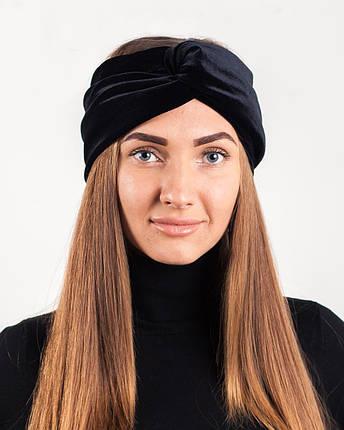 Бархатная повязка Тюрбан черная, фото 2
