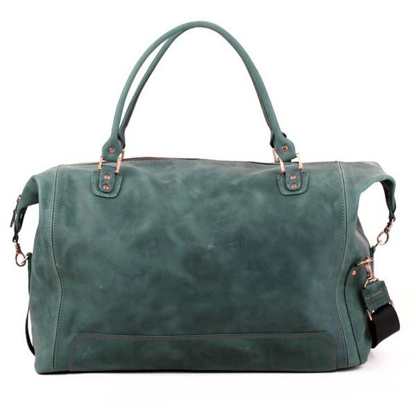 Кожаная сумка дорожная большая С-4 зеленая оливка