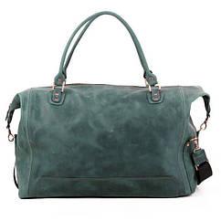 Шкіряна сумка дорожня велика З-4 зелена оливка