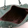 Кожаная сумка дорожная большая С-4 зеленая оливка, фото 7