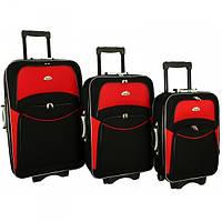Чемодан сумка 773 набор 3 штуки черно-красный