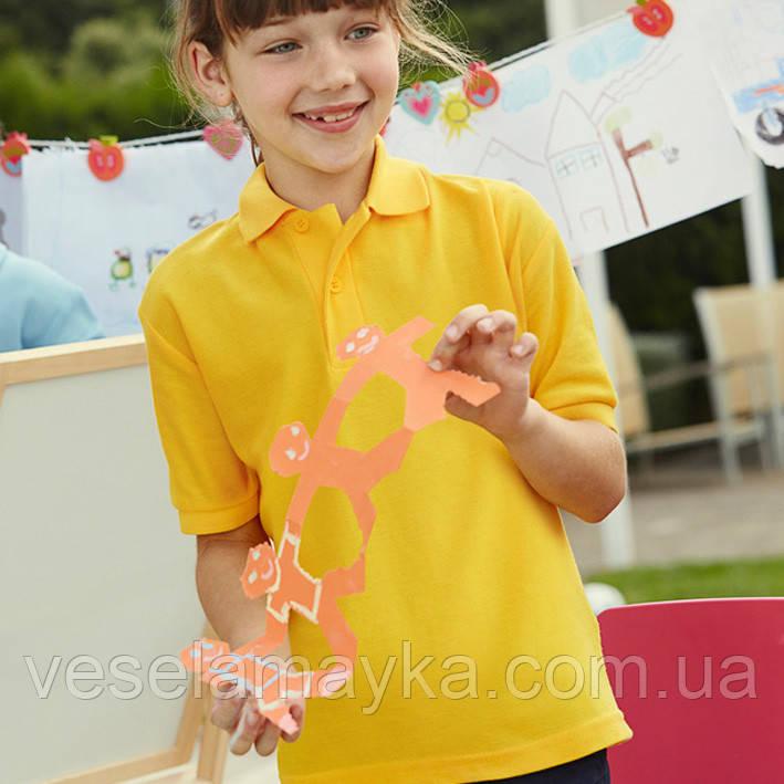 Детская желтая футболка поло (Премиум)