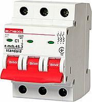 Модульний автоматичний вимикач e.mcb.stand.45.3.C10, 3р, 10А, C, 4.5 кА