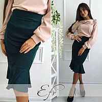 Молодежная трикотажная юбка с воланом, цвет бутылка. Арт-8650/70